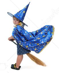 kind kleiner magier zauberer hexe kost m umhang mit hut. Black Bedroom Furniture Sets. Home Design Ideas