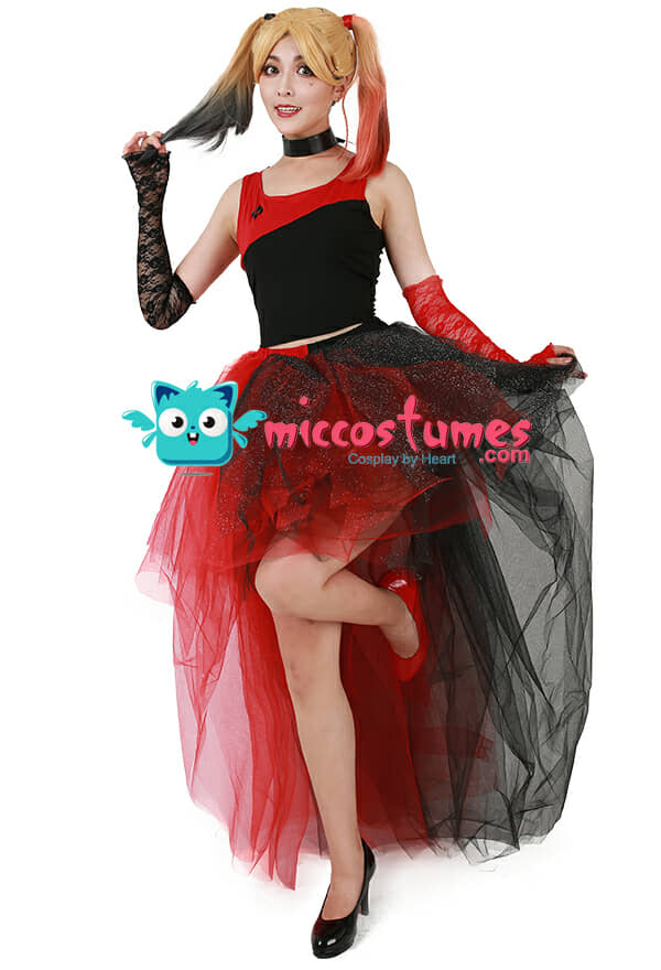 rot schwarz punk kleid cosplay kost m inspiriert von harley quinn sonderanfertigung. Black Bedroom Furniture Sets. Home Design Ideas