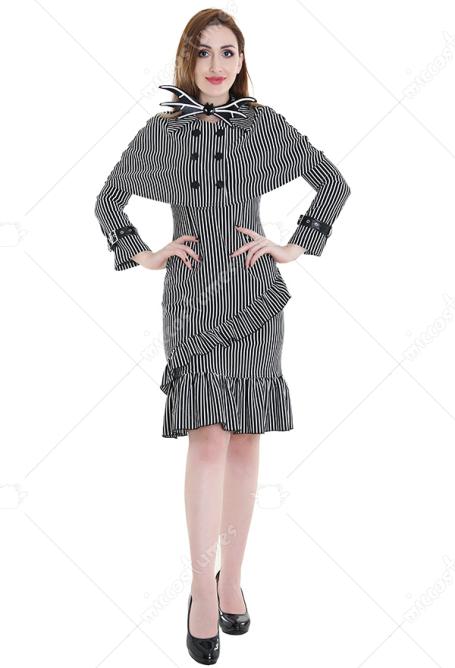 Robe De Madame Squelette Jack Robe Gothique Punk A Rayures Verticales Pour Halloween Robe Set A Vendre