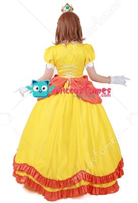 Princesse Daisy femme Costume Super Mario Bros Cosplay robe Robe Adulte JAUNE