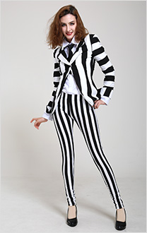 Female Black and White Vertical Stripes Jacket Suit Costume with Tie