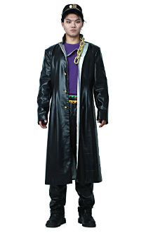 JoJos Bizarre Adventure Jotaro Kujo Leather Cosplay Costumes Outfit for Men Asian Size