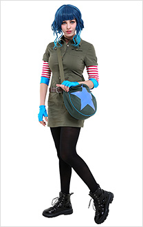 Scott Pilgrim vs the World Ramona Flowers Cosplay Costume Cargo Dress Outfit with Star Circle Messenger Bag