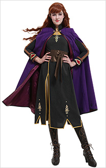 Costume de Cosplay Princesse Anna de Luxe Set de Robe et Cape