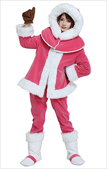 Ice Climbers Popo and Nana Pink Purple Cosplay Costume Rope Eskimos Women and Men Coat Clothing