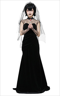 Hotel Transylvania 2 Mavis Dracula Black Wedding Dress Velvet Bridal Gown Cosplay Costume with Spider Webs Veil for Halloween