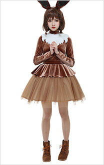 PM Costume de Cosplay Eevee Brun avec Oreille et Queue