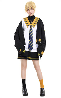 Len Kagamine Cat and Moon Waning Sailor Uniform JK Style Cosplay Costume Set with Tie