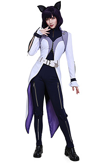 RWBY 7 Blake Belladonna Schnee Dress Costume with Belt Set and Cat Ears