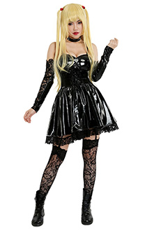 Death Note Amane Misa Dark Gothic Cosplay Costume Dress with Stockings