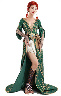 The Witcher 3 Wild Hunt Triss Merigold Alternative Look DLC Outfit Cosplay Costume Dress Robe