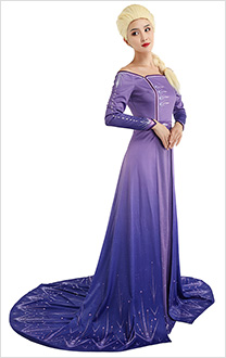 Princess Elsa Cosplay Costume Purple Dress Off The Shoulder Robe Gown