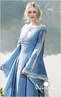 Marine Pearl: Medieval Renaissance Handmade Natural Linen Dress with Wide Open Sleeves