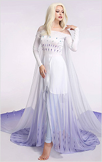 Exclusive Costume de Cosplay Princesse Elsa Reine Glace Robe