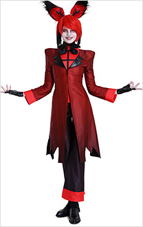 Hazbin Hotel Alastor The Radio Demon Pinstriped Coat Dress Shirt and Pants Cosplay Costume