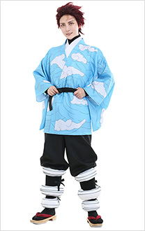 Demon Slayer Kimetsu No Yaiba Tanjirou Kamado Blue Cloud Kimono Cosplay Costume