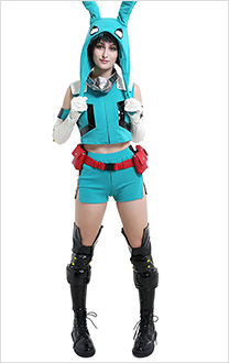 My Hero Academia Midoriya Izuku Deku Female Sportswear Cosplay Costume with Plush Hat Moving Ears Headgear