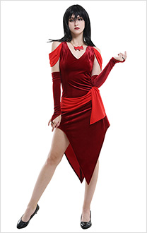 Hex Girls Scooby Doo Thorn Dark Red Dress Cosplay Costume for Halloween with Gloves and Necklace