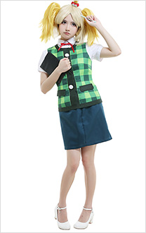 Animal Crossing New Leaf Shih Tzu Dog Isabelle Secretary Summer Suit Cute Green Checkered Vest Cosplay Costume Full Set with Headdress