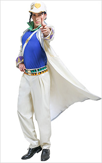 Men JoJos Bizarre Adventure 4 Diamond Is Unbreakable Kujo Jotaro Trench Coat Fullset Cosplay Costume with Shoulder Strap and Cap