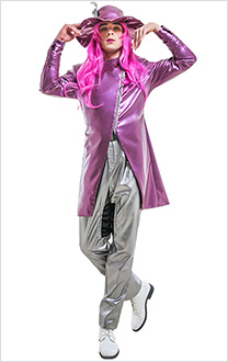 Men JoJos Bizarre Adventure 6 Stone Ocean Narciso Anasui Leather Trench Coat Fullset Cosplay Costume with Hat