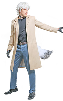 Brand New Animal BNA Ogami Shiro Trench Coat Fullset Cosplay Costume with Tail and Choker