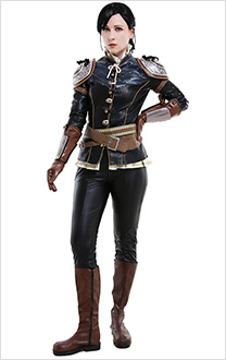 The Witcher 3 Wild Hunt Sylvia Anna Syanna Cracked Leather Battle Inner Coat Fullset Cosplay Costume with Shoulder Armor and Waist Bag