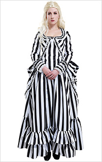Sleepy Hollow Katrina Van Tassel Black White Striped Gothic Formal Dress Cosplay Costume