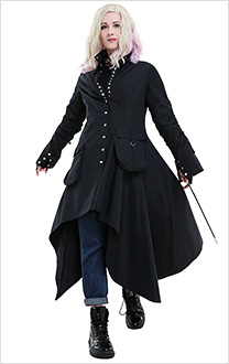 Harry Potter Nymphadora Tonks Black Punk Gothic Windbreaker Irregular Coat Cosplay Costume with Gloves and Choker