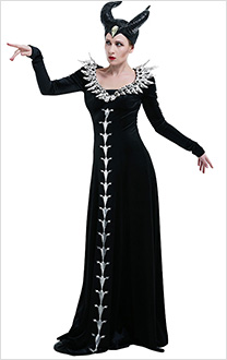 Maleficent Mistress of Evil Wicked Sorceress Black Retro Dress Gown Robe Witch Cosplay Costume with Collar Accessory