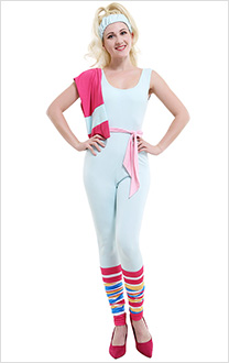 Barbie Doll 90s Milk Silk Zentai Sportsuit Gym Jumpsuit Bodysuit Cosplay Costume with Head Wrap and Belt