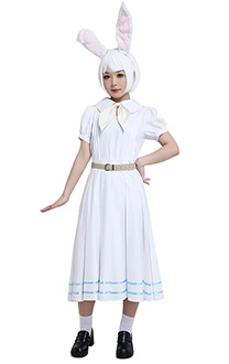 Beastars Haru Miss Rabbit School Uniform Puff Sleeve White Dress Cosplay Costume Woman Full Set with Bow and Belt