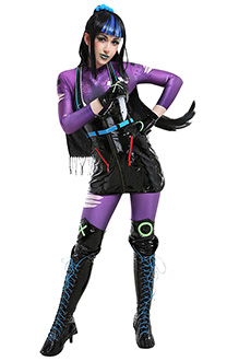 Rebirth Asian Punchline Henchwoman Underboss Joker's Girlfriend Cyberpunk Halter Black Dress Jumpsuit Bodysuit Full Set Cosplay Costume with Gloves and Scarf