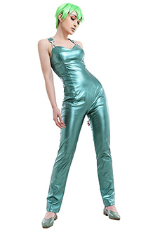 JoJos Bizarre Adventure Stone Ocean Prison Foo Fighters Elastic Long Light Green Shiny Leather Rompers Pants Outfit Cosplay Costume