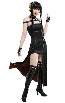 Spy x Family Thorn Princess Yor Forger Killer Assassin Gothic Halter Black Dress Outfit Cosplay Costume with Leather Stockings