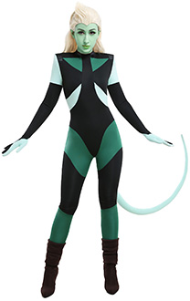 She-Ra Princesses of Power Double Trouble Black and Green Contrast Spliced Zentai Bodysuit Jumpsuit Outfit Cosplay Costume with Tail