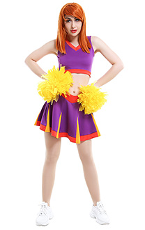 Kim Possible Style Cheerleader Kim Ann Possible Sportswear Cheerleading Uniform Top and Skirt Outfit Cosplay Costume