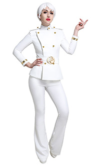 Hotel Transylvania 3 Summer Vacation Erika Van Helsing White Uniform Suit Coat and Pants Outfit Cosplay Costume with Belt and Epaulettes