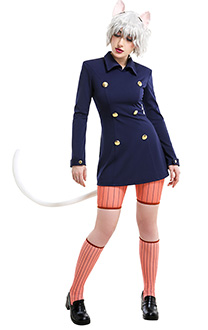 Hunter x Hunter Neferpitou Pitou Dark Blue School College Style Uniform Overcoat Outfit Cosplay Costume with Cat Ears and Tail
