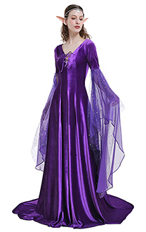Medieval Costume Handmade Historical Dress Retro Celtic Fairy Velvet Gown