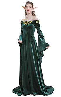 Medieval Costume Handmade Historical Dress Retro Green Velvet Gown