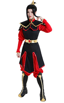 Avatar The Last Airbender Princess Azula Battle Suit Cosplay Costume Ancient Chinese Style Combat Suit Fighting Suit Full Set with Headwear Cape and Leg Warmer