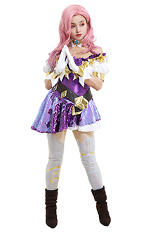 League of Legends LOL Seraphine Idol The Starry-Eyed Songstress Fantastic Idol Singer Short Sleeved Sequin Dress Outfit Cosplay Costume with Neck Accessory and Pantyhose