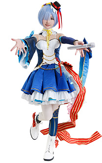 Re: Zero Starting Life in Another World Rem Cute Elegant Idol Singer Colorful Full Set Cosplay Costume with Headdresses