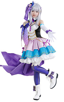 Re: Zero Starting Life in Another World Emilia Cute Elegant Idol Singer Colorful Cosplay Costume Full Set with Headdresses