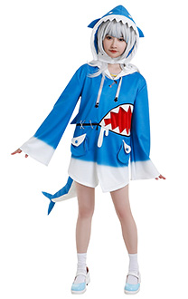 Gawr Gura Same Chan Shark Hoodie Cosplay Costume Cute Irregular Hemline Drawstring Hooded Sweatshirt Pullover Top Bell Sleeve Daily Outfits with Headgear Tail Hair Accessory