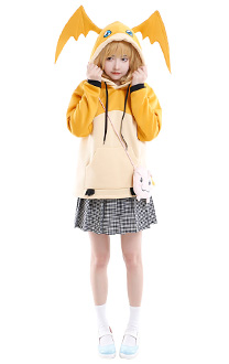 Digital Monster Digimon Patamon Hoodie Cosplay Costume Cute Winged Drawstring Hooded Sweatshirt Embroidered Pullover Oversized Daily Outfits with Pocket Crossbody Bag