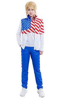 The Prince of Tennis USA U17 American Team Uniform Kiko Balentien Ryoma Cosplay Costume Turn Down Collar POLO Shirt Zip Up Jacket Coat Sportswear Outfits with Pants
