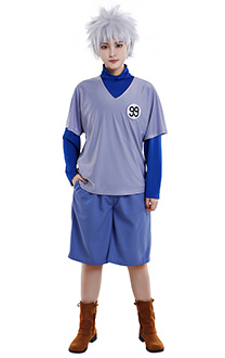 Hunter x Hunter Killua Zoldyck Kirua T Shirt Cosplay Costume V Collar Short Sleeve High Neck Long Sleeve Shirt Set