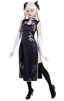Yosuga no Sora Sora Kasugano Black Chinese Traditional Crossing Collar High Split Antique Printing Color Contrast Ended Cheongsam Cosplay Costume Outfit with Bow Accessories and White Gloves